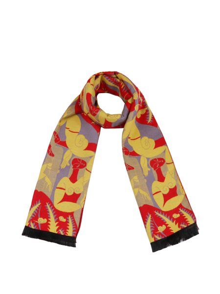 Yellow Graphic Cute Viscose Scarf
