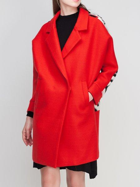 Red Wool Blend Printed Color-block Long Sleeve Coat