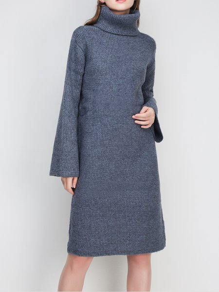 Bell Sleeve Knitted Turtleneck Sweater Dress