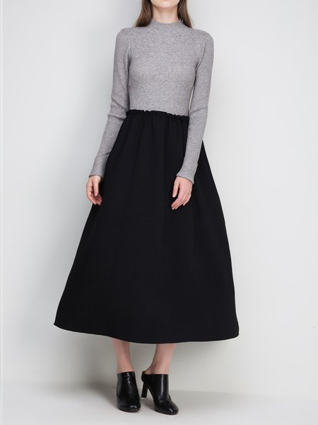 Gray Ruffled Wool Blend A-line Elegant Midi Dress