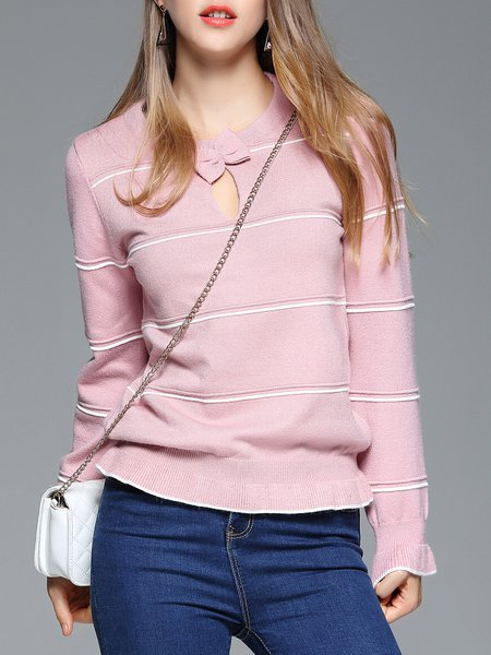 Pink Long Sleeve Crew Neck Knitted Plain Casual Long Sleeved Top
