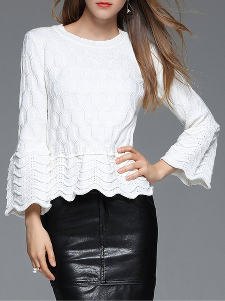 White Long Sleeve H-line Knitted Ribbed Long Sleeved Top