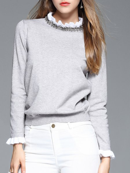 Gray Long Sleeve Beaded Stand Collar Long Sleeved Top