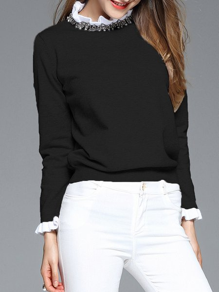 Black Casual H-line Stand Collar Beaded Long Sleeved Top