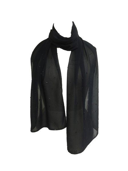 Black Elegant Beads Embellished Chiffon Scarf