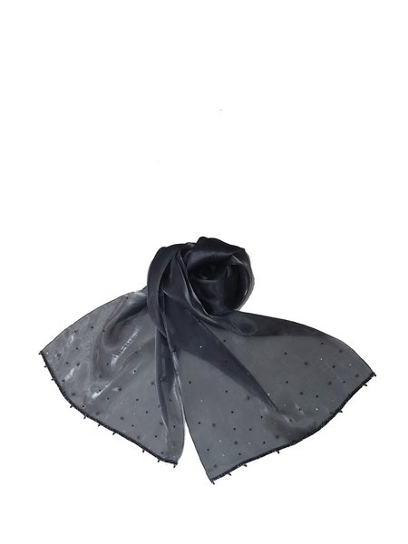 Gray Elegant Beaded Organza Scarf