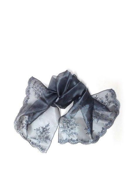 Gray Floral Organza Scarf