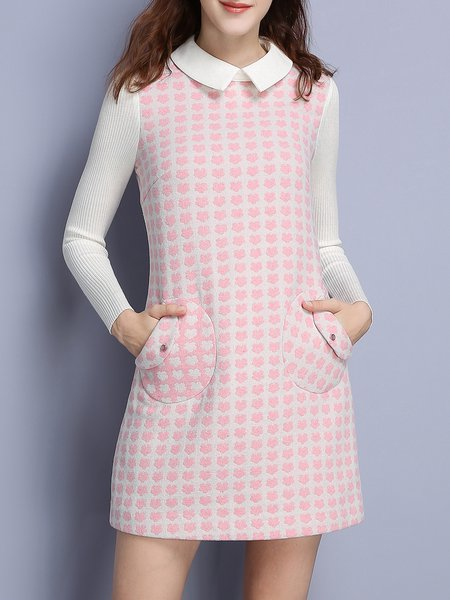 Pink Polka Dots Girly Paneled Mini Dress