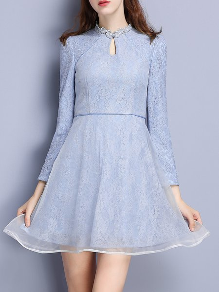 Blue Keyhole Girly A-line Lace Mini Dress
