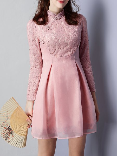 Pink Stand Collar Paneled Long Sleeve Mini Dress