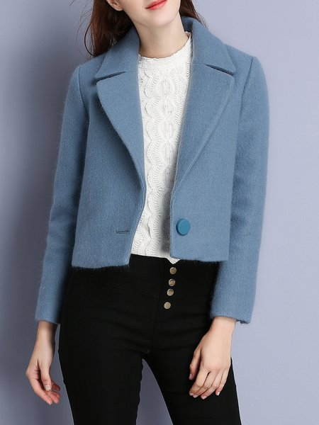 Dark Blue Solid Lapel Cropped Jacket