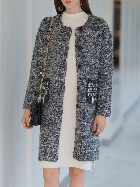Letter Cute Pockets Long Sleeve H-line Cardigan