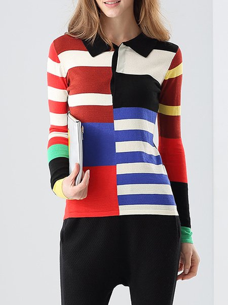 Multicolor Stripes Color-block H-line Cute Sweater