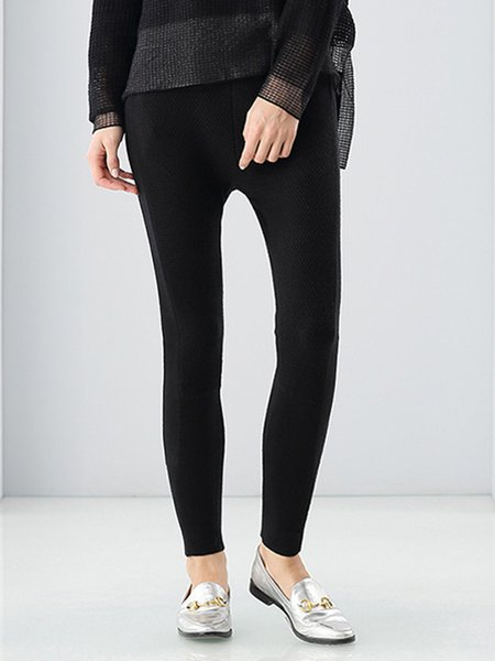 Black Solid Knitted Casual Wool Blend Leggings