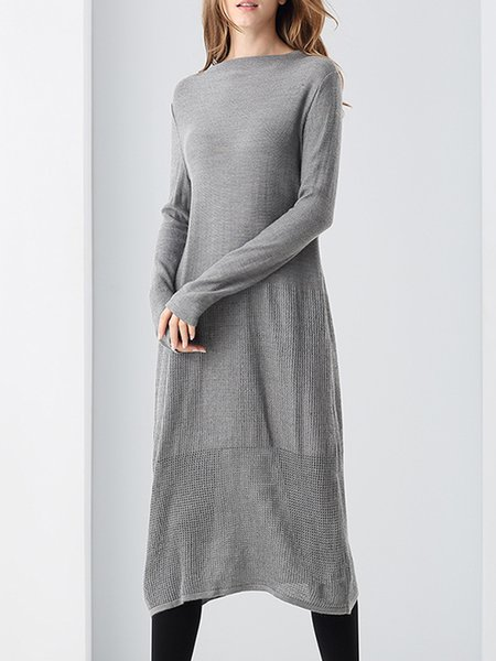 Gray Long Sleeve Knitted A-line Slash Neck Midi Dress
