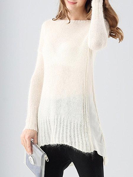 Wool Blend Slash Neck A-line Long Sleeve Sweater