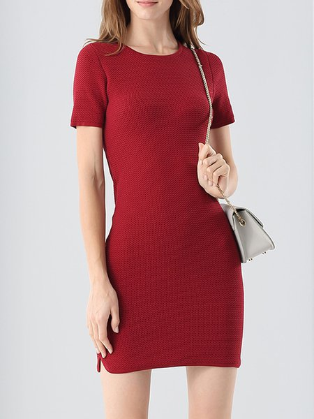 Wine Red H-line Simple Short Sleeve Sweater Dress