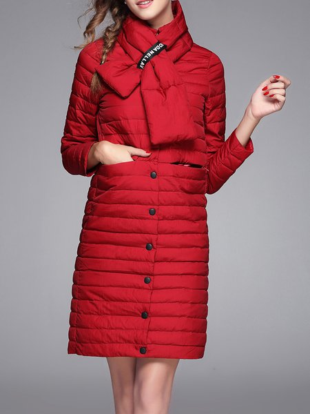 Buttoned Elegant H-line Long Sleeve Down Coat with Scarf