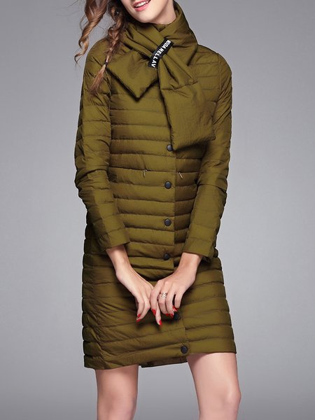 Army Green Buttoned Turtleneck H-line Down Coat with Scarf
