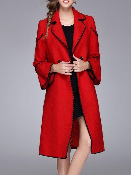Red Binding Trumpet Sleeve Mohair Blend Coat