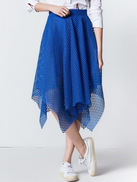 Royal Blue Pierced Asymmetrical Midi Skirt