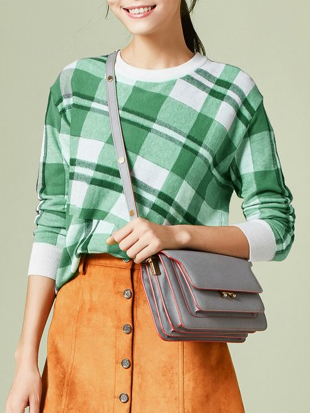 Green Checkered/Plaid Casual Sweater