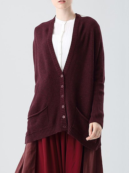 Buttoned Long Sleeve Casual Cotton Cardigan