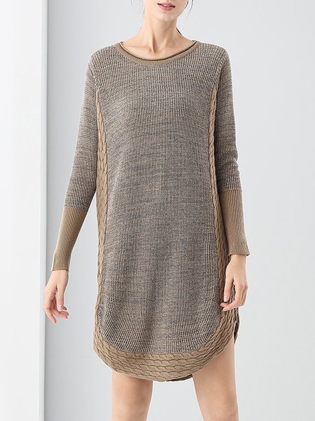 Paneled H-line Knitted Crew Neck Simple Sweater Dress