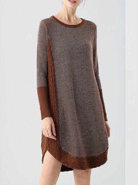 Coffee Paneled Long Sleeve H-line Sweater Dress