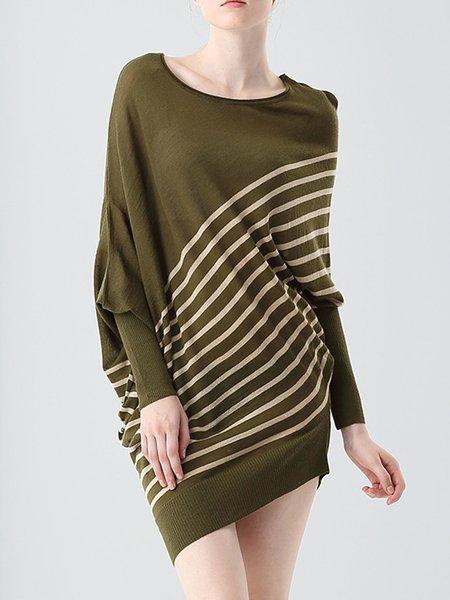 Olive Green Statement Asymmetric Stripes Sweater Dress