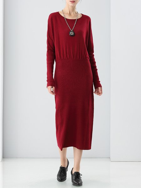 Long Sleeve Gathered Simple Knitted Sheath Sweater Dress