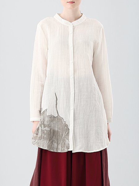 White Stand Collar Long Sleeve Shift Simple Tunic