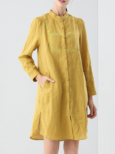 Yellow Stand Collar Pockets Simple Plain Shirt Dress