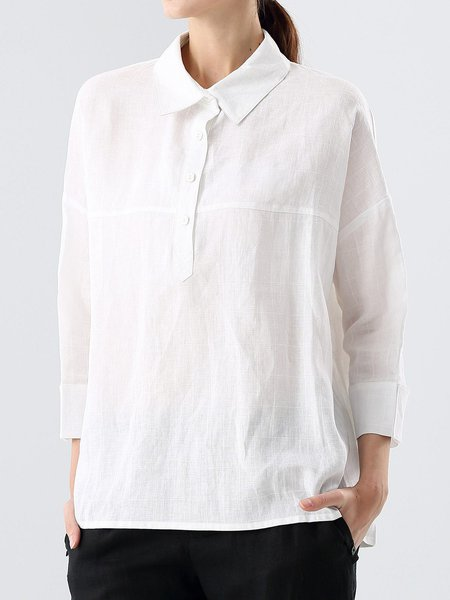 White Simple 3/4 Sleeve Ramie Blouse