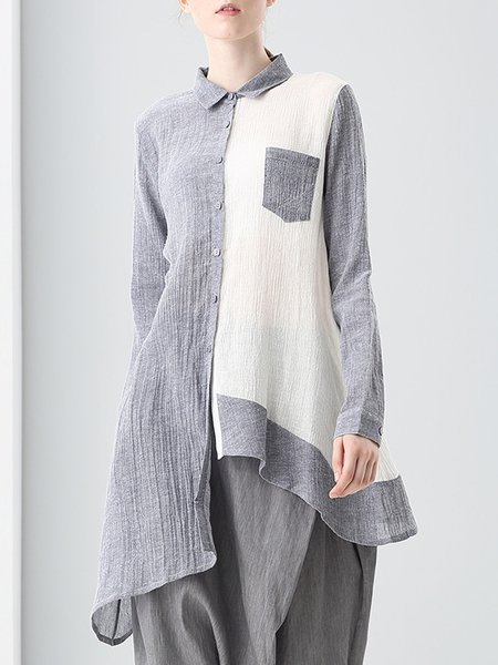 Asymmetrical Color-block Long Sleeve Tunic