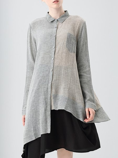 Green Color-block Asymmetrical Tunic