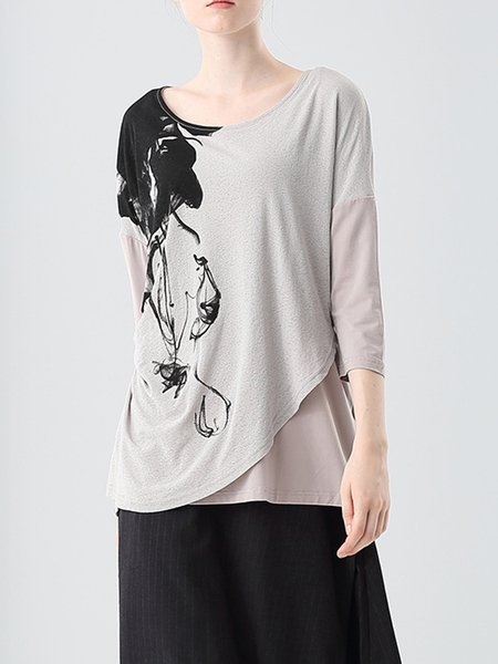 Printed Gathered Casual 3/4 Sleeve Top
