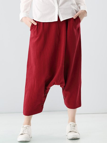 Red Linen Solid Pockets Statement Haren Pants
