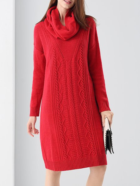 Red Wool Blend Solid V Neck Sweater Dress with Scarf