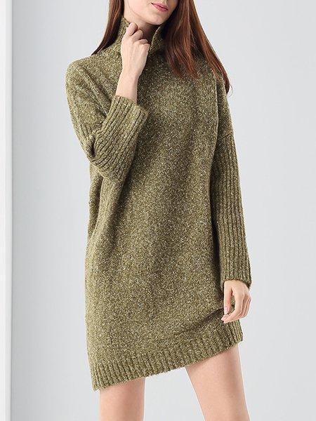 Olive Green Simple Turtleneck Asymmetric Sweater Dress