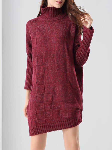 Asymmetric Simple Turtleneck Sweater Dress