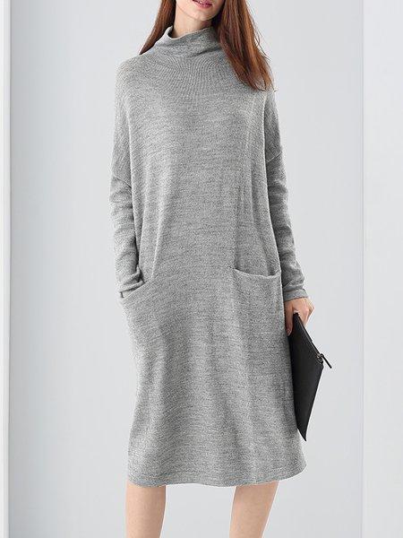 Light Gray Turtleneck Pockets A-line Sweater Dress