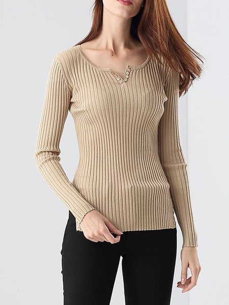 Slit Knitted Crew Neck Long Sleeve Sweater