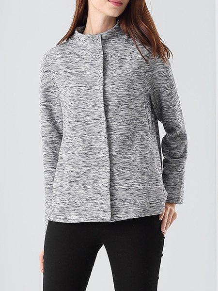 Gray Long Sleeve Pockets Casual Cropped Jacket