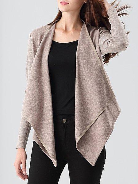 Khaki Wool Blend Asymmetrical Pockets Cropped Jacket