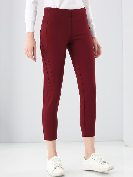 Casual Solid Viscose Legging