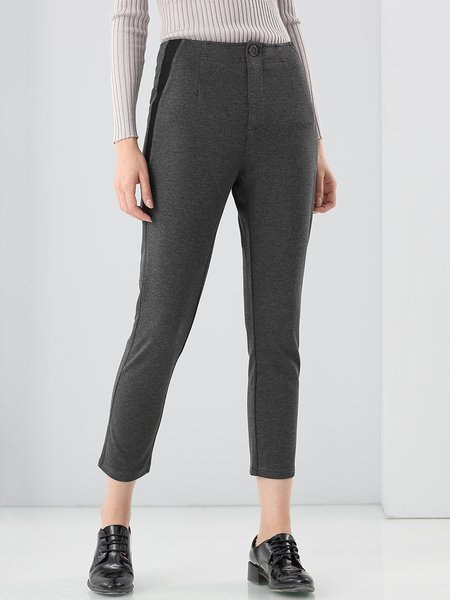 Gray Casual Viscose Plain Straight Leg Pants