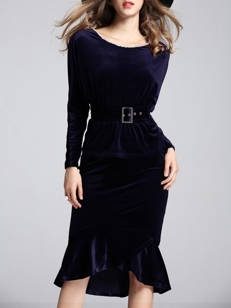 Navy Blue Raglan Sleeve Velvet Two Piece Midi Dress