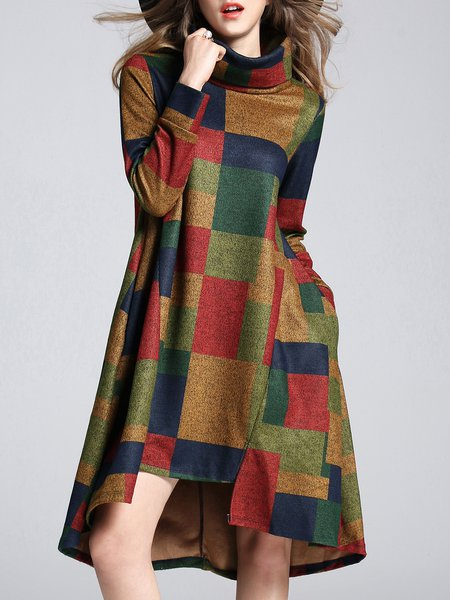 Color-block Pockets Checkered Turtleneck Midi Dress with Belt