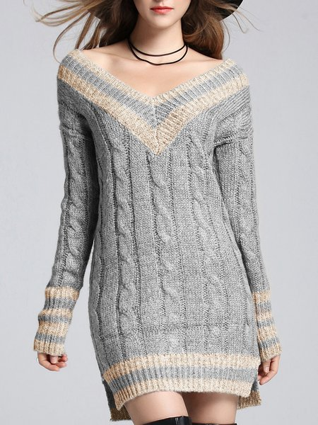 Color-block V Neck Sexy H-line Sweater Dress